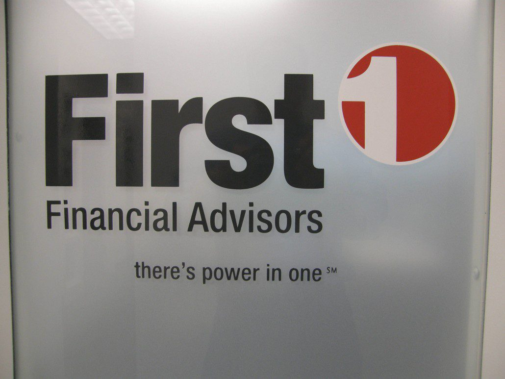 First financial indoor office sign