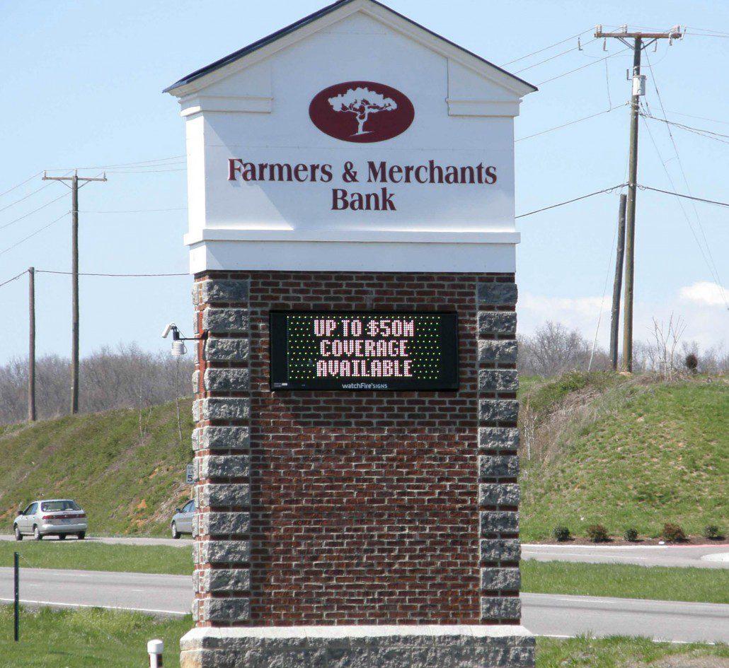 farmer 39 s merchant 39 s bank outdoor signs eddie edwards signs. Black Bedroom Furniture Sets. Home Design Ideas